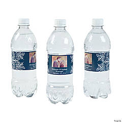 Custom Photo Wedding Water Bottle Labels - Navy Blue