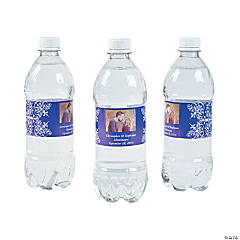 Custom Photo Wedding Water Bottle Labels - Purple