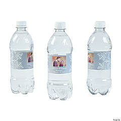 Custom Photo Wedding Water Bottle Labels - Silver