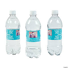 Custom Photo Wedding Water Bottle Labels - Turquoise