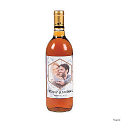 Custom Photo White Marble Wine Bottle Labels