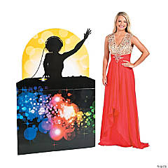 Dance Party Female DJ Silhouette Cardboard Stand-Up