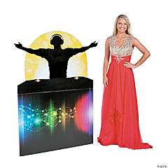 Dance Party Male DJ Silhouette Cardboard Stand-Up