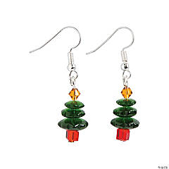 Dark Green Christmas Tree Earrings Craft Kit