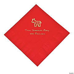 Democrat Red Personalized Luncheon Napkins with Gold Print