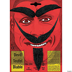 Devil's Black Mustache, Beard and Eyebrows Set