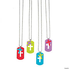 Die Cut Cross Dog Tag Necklaces