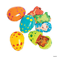 Dino Finger Puppet-Filled Plastic Easter Eggs - 12 Pc.
