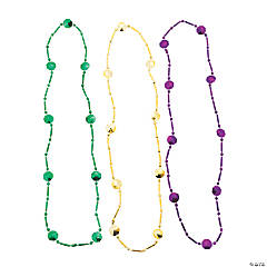 Disk-Shaped Mardi Gras Beaded Necklaces