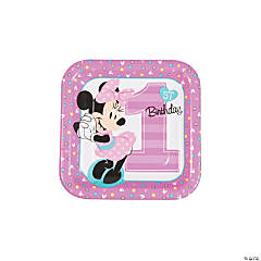 Disney® Minnie's Fun To Be One Square Paper Dessert Plates