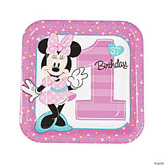 Disney® Minnie's Fun To Be One Square Paper Dinner Plates