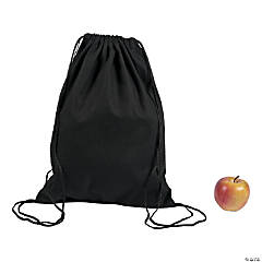 DIY Large Black Canvas Drawstring Backpacks