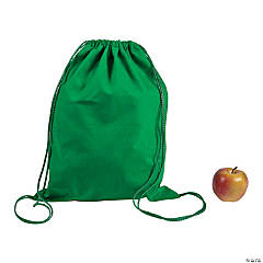 DIY Large Green Canvas Drawstring Backpacks