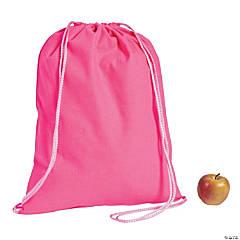 DIY Large Hot Pink Canvas Drawstring Backpacks