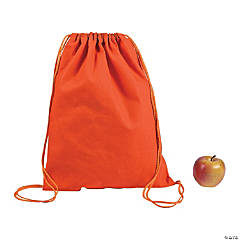 DIY Large Orange Canvas Drawstring Backpacks