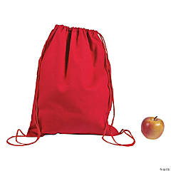 DIY Large Red Canvas Drawstring Backpacks