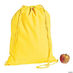 DIY Large Yellow Canvas Drawstring Bags