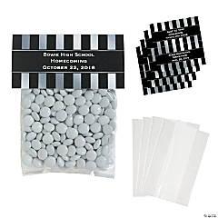 DIY Personalized Silver & Black Stripe Cellophane Favor Bags