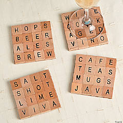 DIY Wood Alphabet Tile Coasters Idea