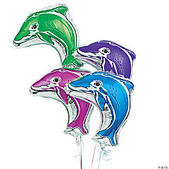 Dolphin-Shaped Mylar Balloons Assortment