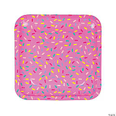 Donut Party Square Paper Dinner Plates