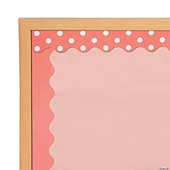 Double-Sided Solid & Polka Dot Bulletin Board Borders - Coral