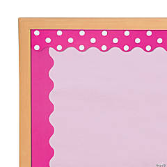 Double-Sided Solid & Polka Dot Bulletin Board Borders - Hot Pink