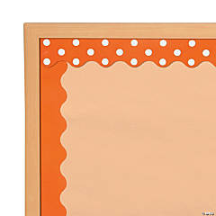 Double-Sided Solid & Polka Dot Bulletin Board Borders - Orange
