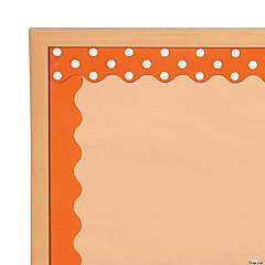 Double-Sided Solid & Polka Dot Bulletin Board Borders - Orange