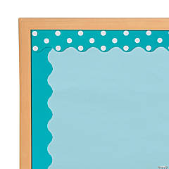 Double-Sided Solid & Polka Dot Bulletin Board Borders - Turquoise