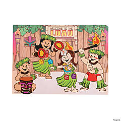 Dress Up Hula Dancers Small Sticker Scenes
