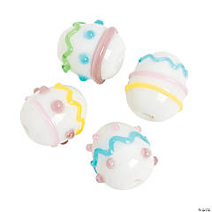 Easter Egg Lampwork Beads - 17mm