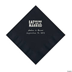 """Eat, Drink And Be Married"" Personalized Black Luncheon Napkins"
