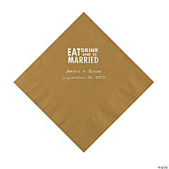 """Eat, Drink And Be Married"" Personalized Gold Luncheon Napkins"