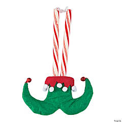 Elf Feet Candy Cane Covers with Bells