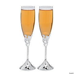 Embossed Heart Champagne Flutes