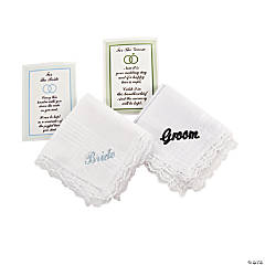 "Embroidered ""Bride"" & ""Groom"" Handkerchief Set"