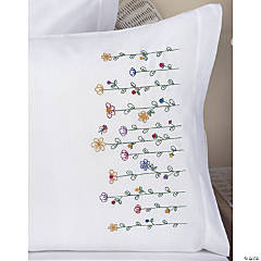 Embroidery Pillowcase Pair-Tall Flowers