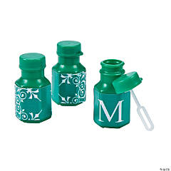 Emerald Green Roman Monogram Wedding Mini Bubble Bottles
