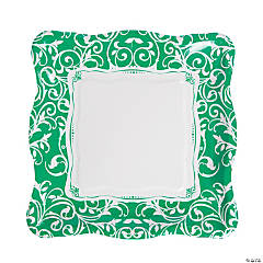 Emerald Green Swirl Dinner Plates