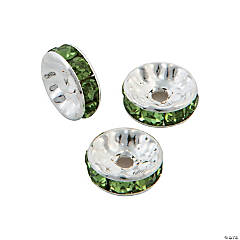 Emerald Rhinestone Rondelle Spacers