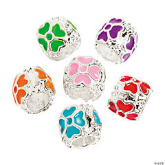 Enamel 4 Heart Large Hole Beads - 9mm