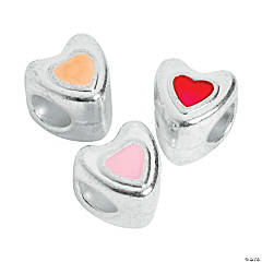 Enamel Pink, Red & Light Orange Hearts Large Hole Beads - 9mm