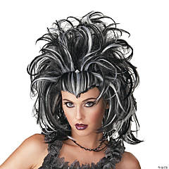 Evil Sorceress Black & White Wig