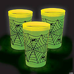 Extra Large Glow-in-the-Dark Spider Web Plastic Tumblers