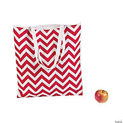 Extra Large Red & White Chevron Tote