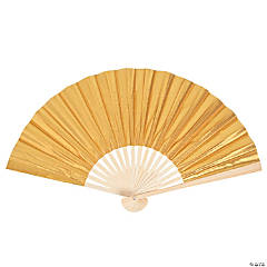 Fabric Gold Metallic Folding Fans
