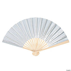 Fabric Silver Metallic Folding Fans