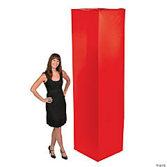 Fabric Square Column Slip Cover - Red