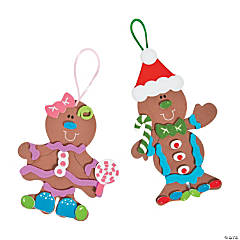 Fabulous Foam Gingerbread Christmas Ornaments - Makes 12